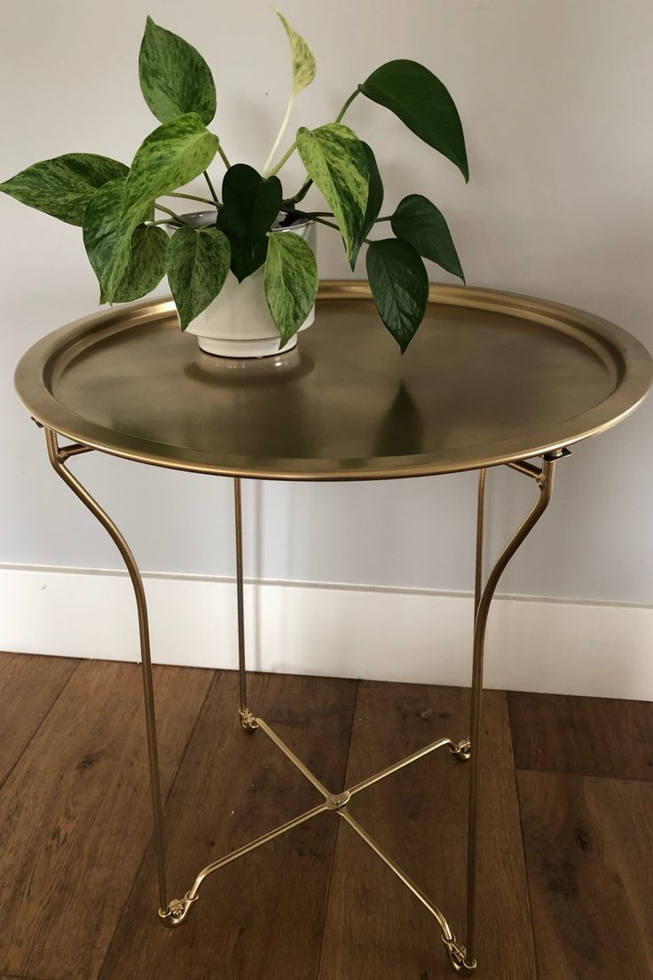 Diy Spray Painted Metal Side Tray Table In Rustoleum Specialty Metallic Gold Table Makeover Spray Painting Wood Furniture Tray Table [ 1104 x 736 Pixel ]
