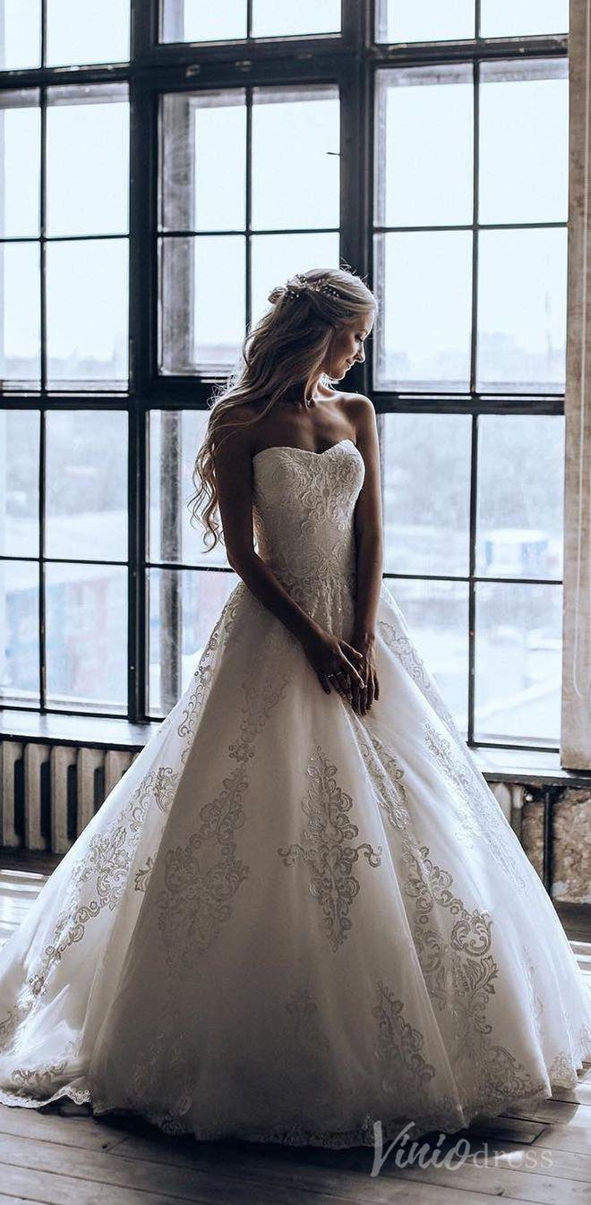 Strapless Vintage Lace Wedding Dresses For Brides Vw1281 Strapless Lace Wedding Dress Lace Wedding Dress Vintage Ball Gown Wedding Dress [ 1346 x 660 Pixel ]
