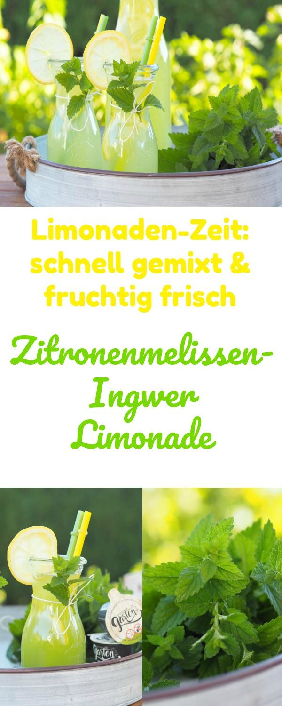 Bei diesen Temperaturen im Sommer müssen wir unseren Körper mit ganz, ganz viel Flüssigkeit versorgen. Aber immer nur Wasser ist auf die Dauer natürlich langweilig und zu eintönig. Daher genieße ich gerne gekühlte, erfrischende und selbstgemachte Limonaden – heute eine sehr leckere Zitronenmelissen - Ingwer Limonade. -Werbung-