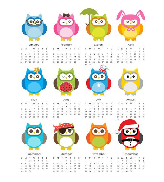 Owls 2014 Calendar printable 5x7 & 8x10 sheet by eloycedesigns