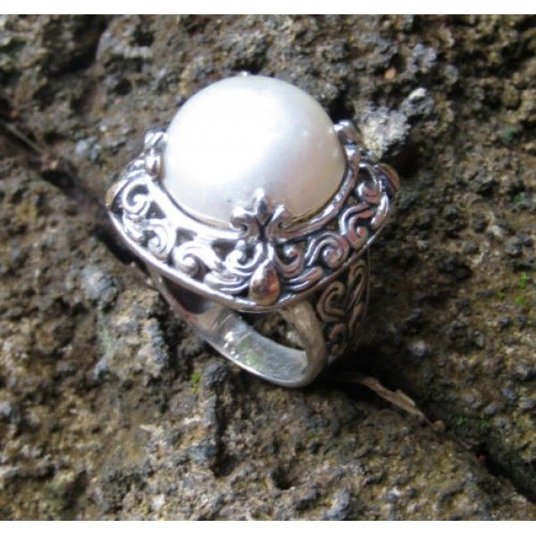 cincin perak motif ukiran daun batu mabe