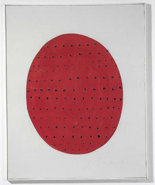 "peinture italienne : Lucio Fontana, ""Concetto spaziale"", 1962. ovale rouge, points"