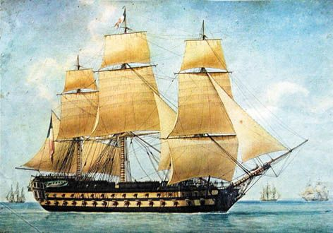 """""""Robuste"""" 80 guns (Antoine Roux, oil on canvas). French second-rate ship of the line. Second-rates were the most common type of battleship in the Napoleonic period, and 80 gunners, towards the end of the wars, began to displace the slightly smaller 74's (the mainstays of most naval battle lines) Robuste was one of the 21 completed Bucentaure class ships (designed by famous naval engineer Jacques-Noël Sané) She was built at Toulon from May 1805, completed in 1807, burned after a battle in…"""