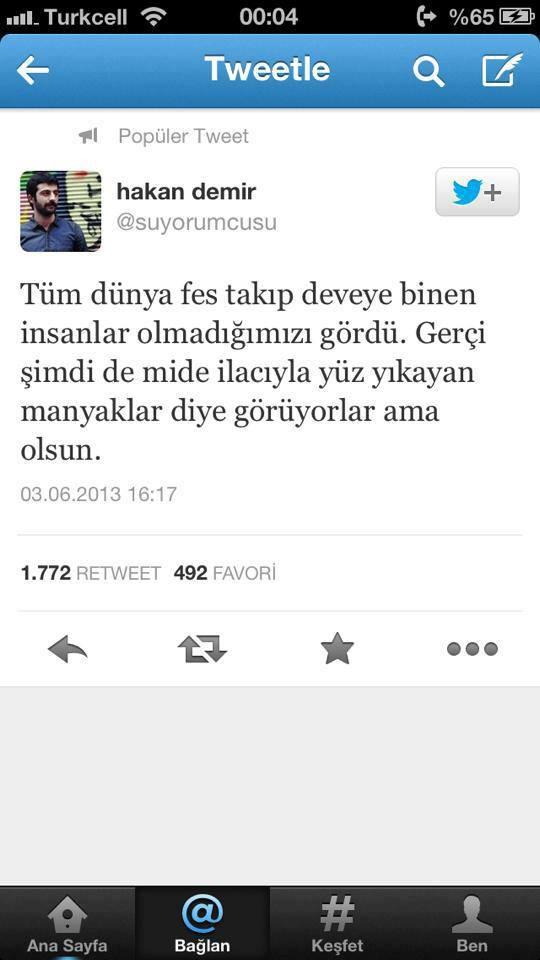 Taksim Gezi Parkı direnişi twitleri
