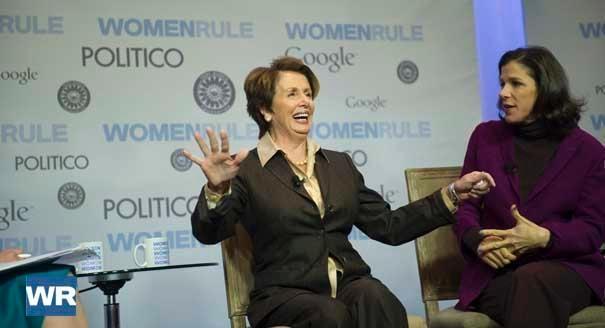 Democratic Leader Rep. Nancy Pelosi (D-Calif., left) and her daughter  filmmaker Alexandra Pelosi (right) talk during the Women Rule Marks of Leadership summit.  | POLITICO