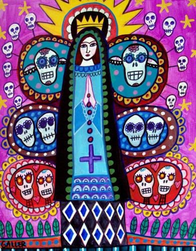 60% Off- Mexican Folk Art - Virgin of Guadalupe Mexican Folk Art Frida Kahlo Day of the Dead Print Poster of Painting (HG656)