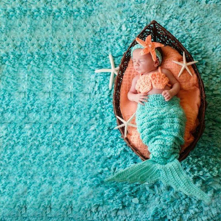 Crochet Baby Mermaid Tail Shell Bikini Top Starfish Headband Photography Prop Set Baby Infant Toddler Handmade Girl Baby Shower Gift Costume