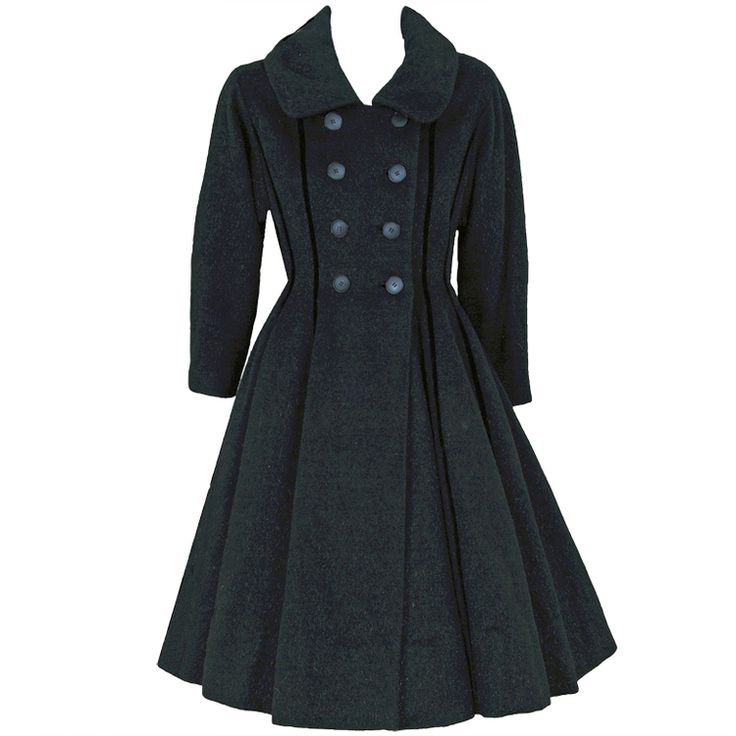 1940's Vintage Lilli-Ann Black Wool Velvet Double-Breasted Princess Coat. I want this so bad but I am too darned FAT.