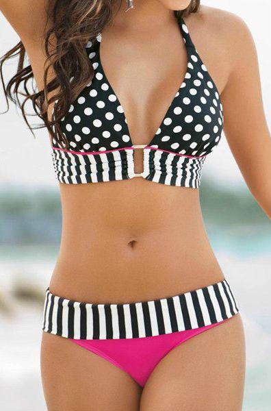Sexy Halter Polka Dot Spliced Women's Bikini Set For Summer #Summer #Swimwear #Sean #Bikini