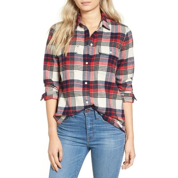 Women's Madewell Ex Boyfriend Plaid Flannel Shirt ($60) ❤ liked on Polyvore featuring tops, flame red, tartan shirt, plaid shirts, tartan plaid shirt, red plaid shirt and madewell
