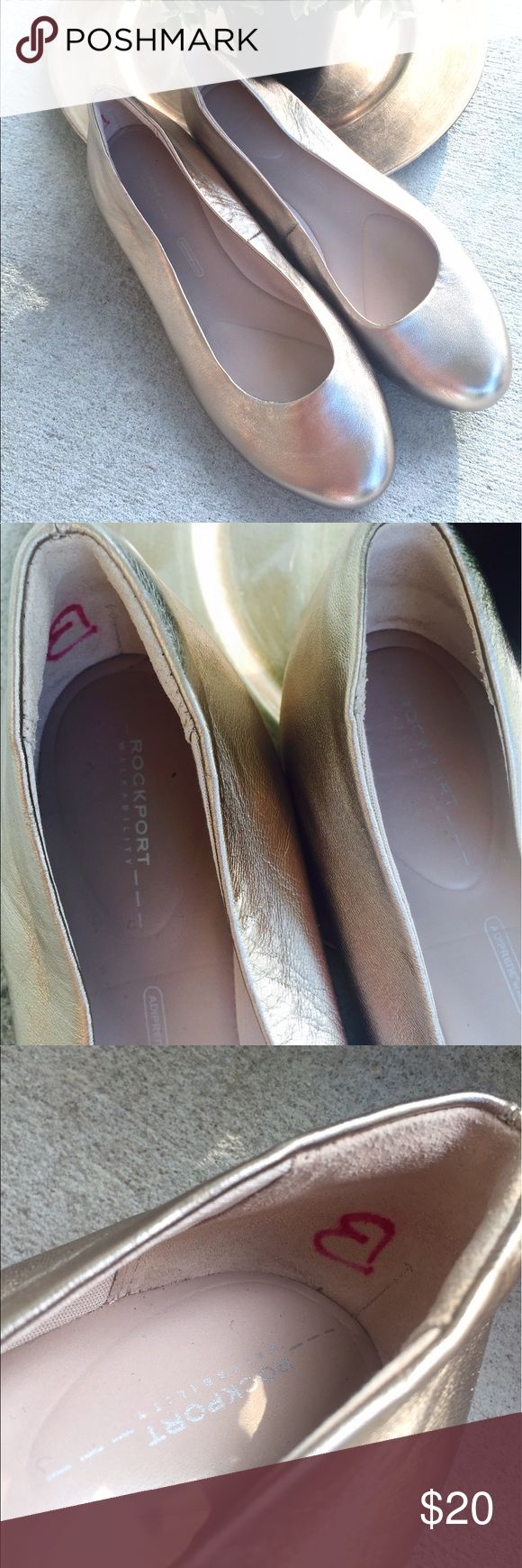 Rockport Walkability Gold Ballet Flats Rockport Walkability Gold Metallic Leather Ballet Flats  Womens 7 M Slip On Shoes Preowned good used condition. Small marker mark on inside of right shoe, see pictures. Rockport Shoes Flats & Loafers
