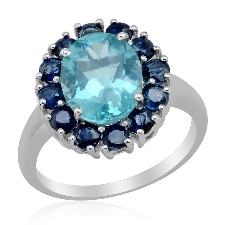 Liquidation Channel | Paraiba Apatite and Kanchanaburi Blue Sapphire Ring in Platinum Overlay Sterling SilverOverlay Sterling, Platinum Overlay, Apatite Jewelry, Paraiba Apatite, Blue Sapphire Rings, Jewelry Showcase, Shiny Rings, Kanchanaburi Blue, Liquid Channel