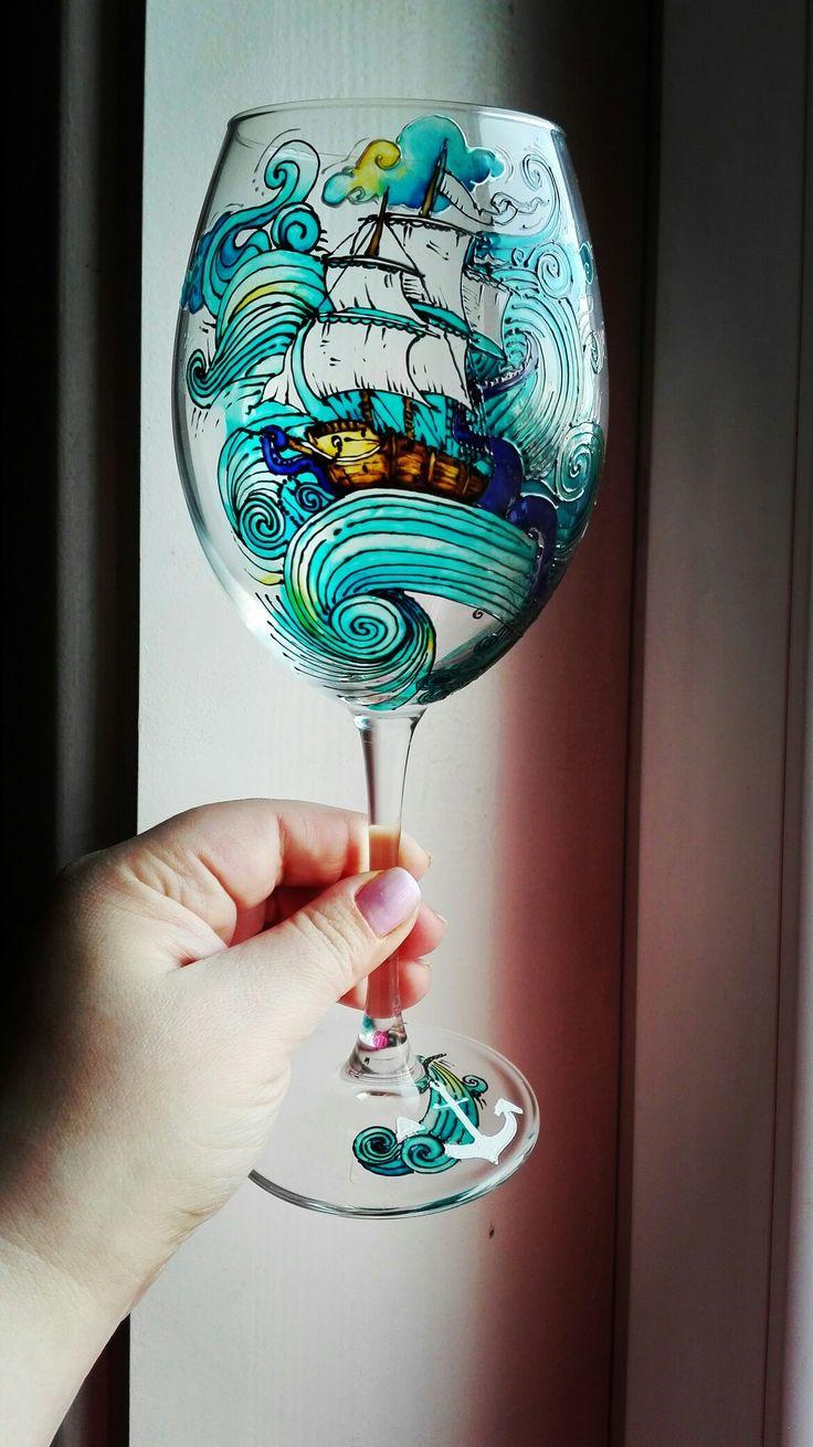 Моя новая работа) Яркий винный бокал на морскую тематику)