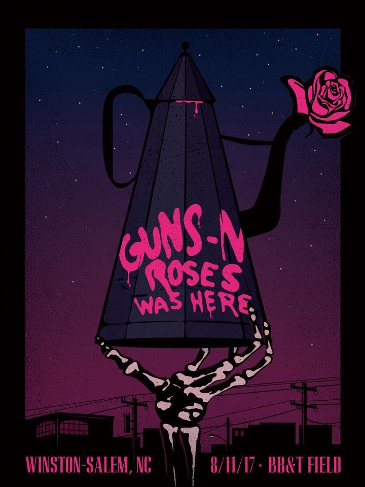 guns n 39 roses gig poster not in this lifetime tour august 11 2017 bb t field winston salem. Black Bedroom Furniture Sets. Home Design Ideas