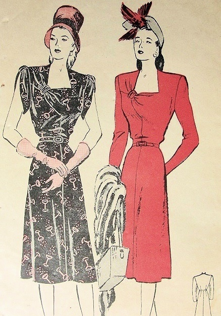 1940s BUTTERICK DRESS PATTERN 4044 ELEGANT DRAPED,KNOTTED ASYMMETRIC LOW SQ NECKLINE SLIM 4 GORE SKIRT, CLASSY DESIGN