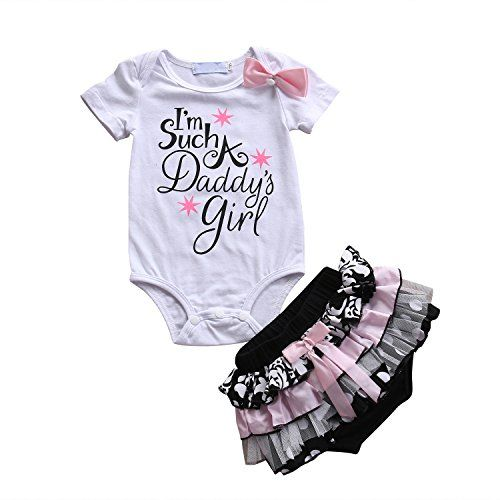 baby clothing | Cute Baby Girl Daddy's Girl Print Bow Romper Multi-Tulle Ruffle Bowknot Shorts Outfit (0-6 Months, White)