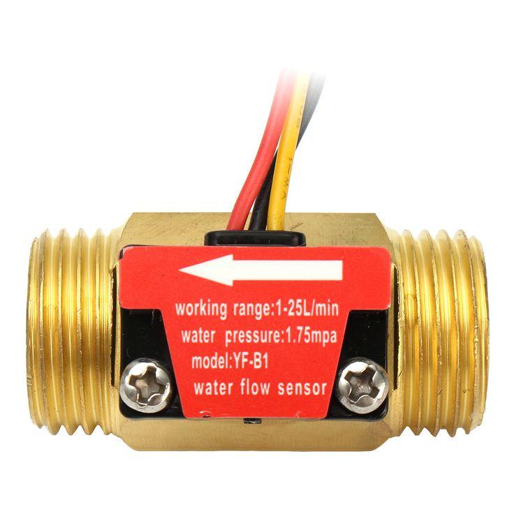 Completo Cobre Caudal de agua Sensor 1.75Mpa G1/2 Interruptor del medidor de flujo de pasillo de pulso 1-25L / Min