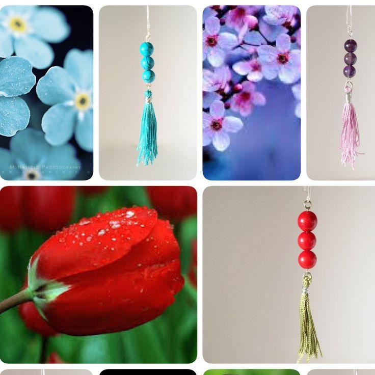 Beautiful flowers and colorful gemstone earrings!