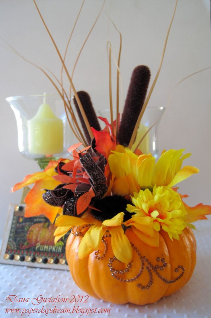 pumpkin floral arrangements | Want2Scrap: DIY pumpkin floral arrangement