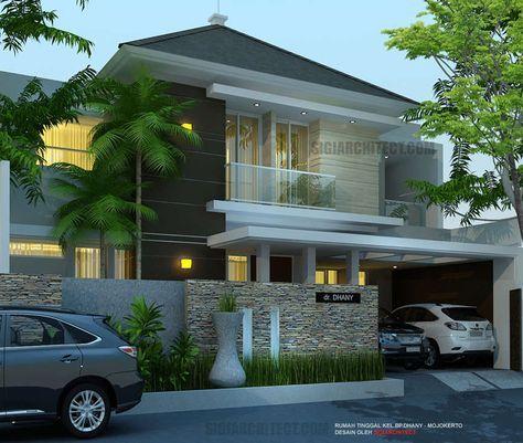Model rumah mewah 2 Lantai, 5 kamar tidur, lahan 4 x 15 M2 di Mojokerto, rumah minimalis konsep tropis modern, asri dengan batu susun sirih pada pagar depan