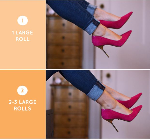 The right way to roll your jeans depending on your jean fit and shoe choice.