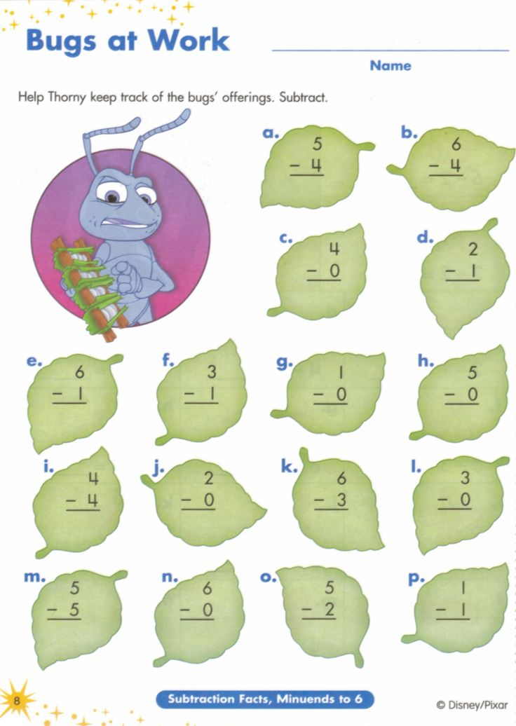 10 MATH ACTIVITY Bugs Life Subtraction Worksheets To Add A