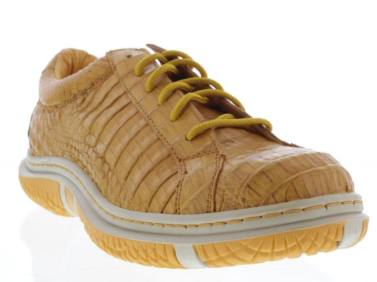 Mens genuine crocodile alligator yellow dress tennis shoes sneaker casual  exotic