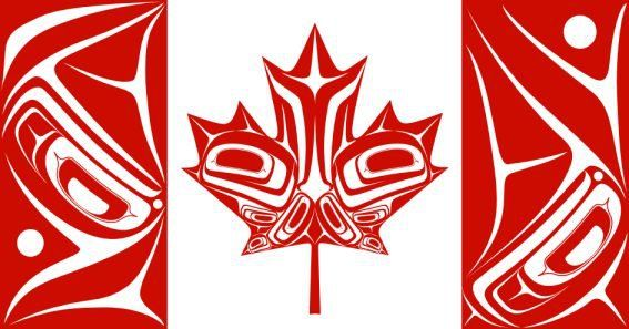 By Nigel Fox (Ojibwe) Artwork  canadian flag~ Proud to be Canadian