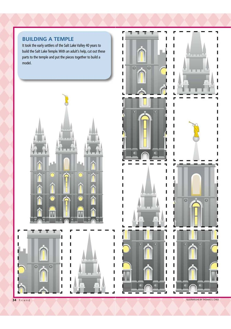"This is a great idea for teaching the song ""I Love to See the Temple."" Cut out the puzzle parts (you might want to glue the page to heavier paper or cardboard - or you could print it on card stock). You can let the children ""build"" a temple as they sing each phrase of the song correctly.  Lots of fun! Check it out!"