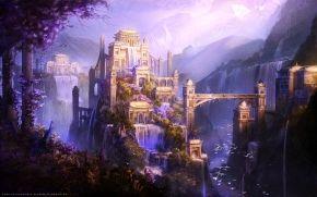 castle, waterfalls, Birds
