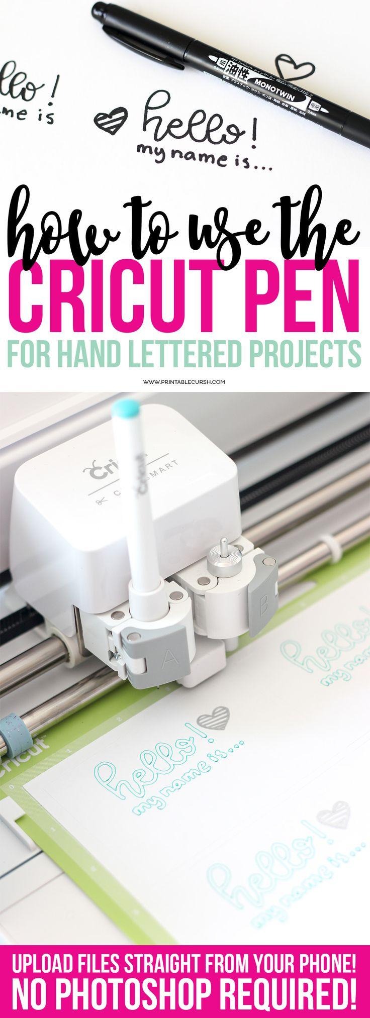 Learn how to create Cricut Pen Hand Lettering Projects with this super quick and easy tutorial. No need for photoshop...just use your phone and Cricut Design Space! CricutMade AD