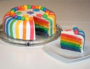 Rainbow Cake (Regenbogenkuchen) mit weißer Schokoladen-Ganache und Rollfondant