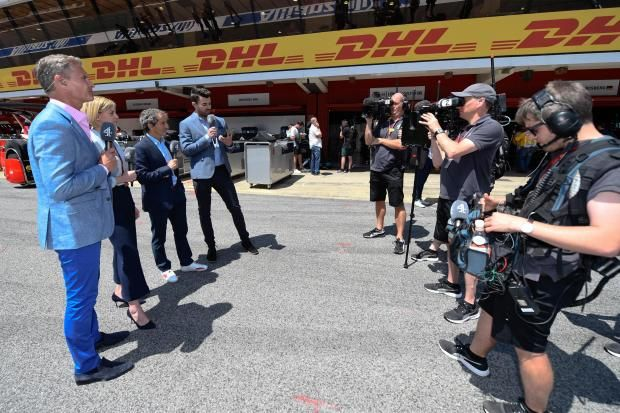 Channel 4s team of David Coulthard, Susie Wolff, Alain Prost and Steve Jones in the Barcelona pit lane Channel 4