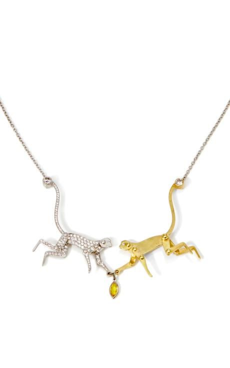 18K White Gold And 18K Yellow Gold Monkey Love Necklace With Yellow Sapphire by Marc Alary for Preorder on Moda Operandi
