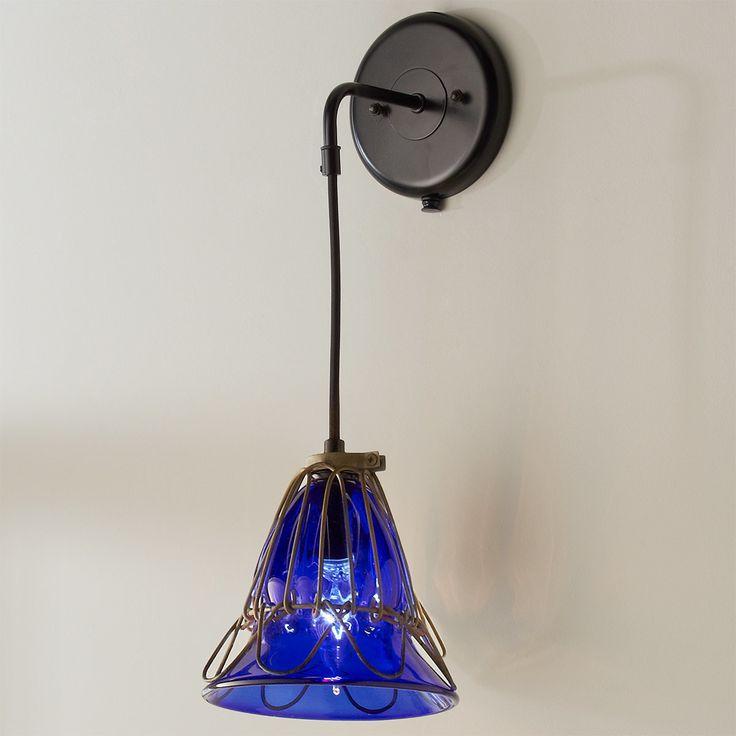 Umanoff Hand Blown Glass Cage Flower Sconce cobalt_blue