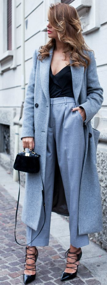 The Fashion Fruit Gray Coat And Trousers Black Bodysuit And Pumps Fall Inspo