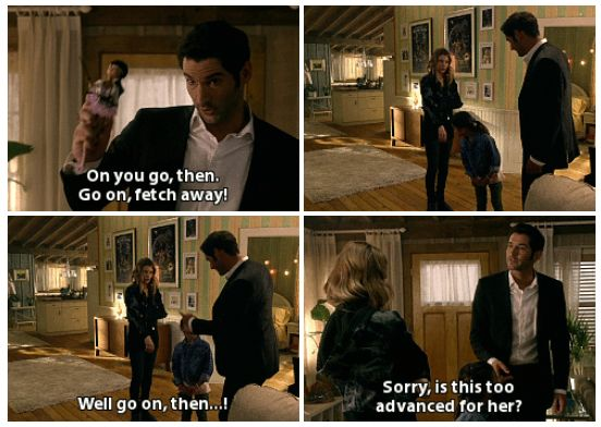 Lucifer 1x02 - Lucifer, Stay. Good Devil. 'Hello again, small human.' <--- I love the character interactions between Lucifer and Trixie <3