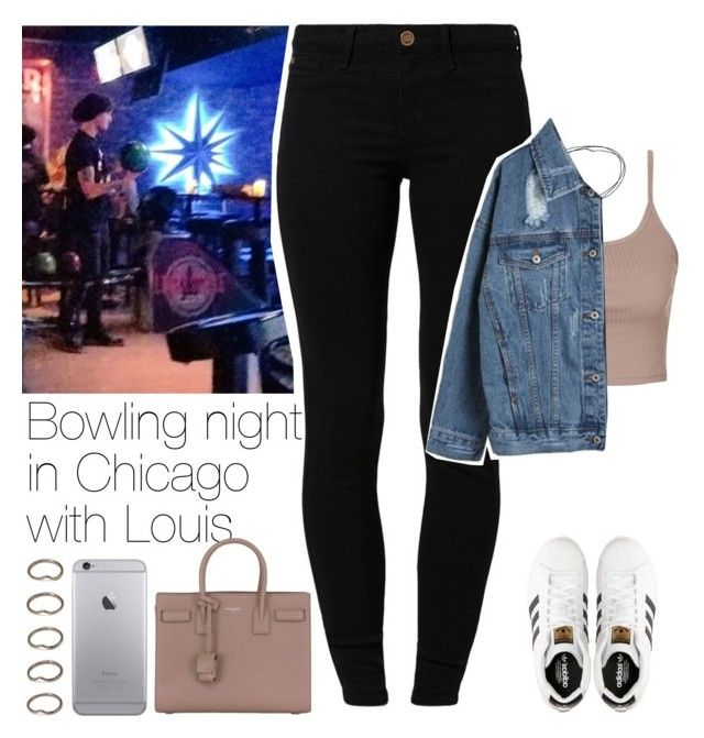 """Bowling night in Chicago with Louis"" by lottieaf ❤ liked on Polyvore featuring River Island, Topshop, Yves Saint Laurent, WithChic, adidas, Forever 21, OneDirection and louistomlinson"
