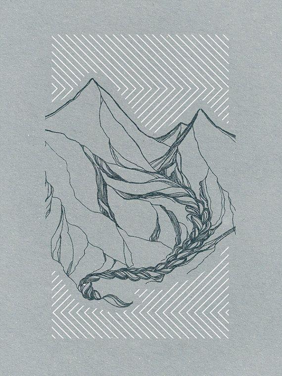 Mountain Landscape Art Print no. 3, 5 x 7'' two color screen print