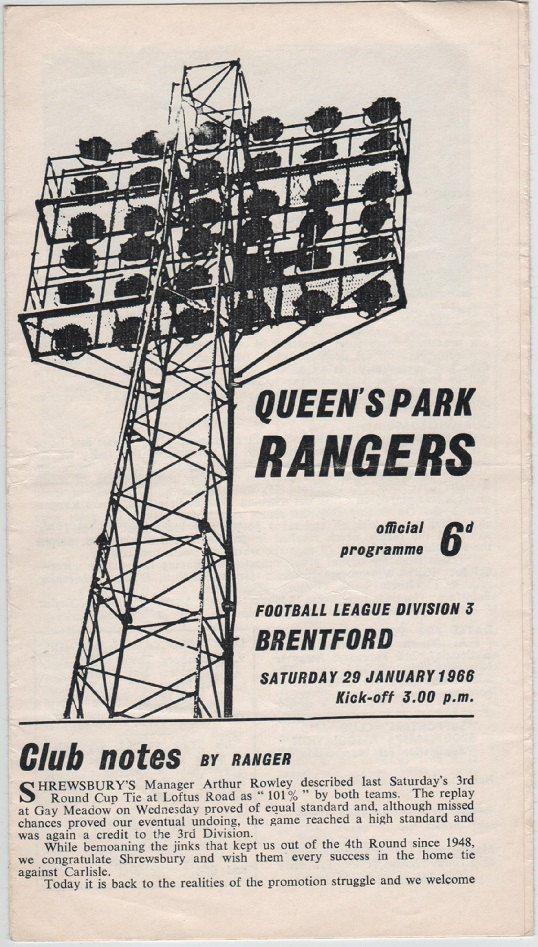 Vintage Football (soccer) Programme - Queens Park Rangers v Brentford, 1965/66 season, by DakotabooVintage