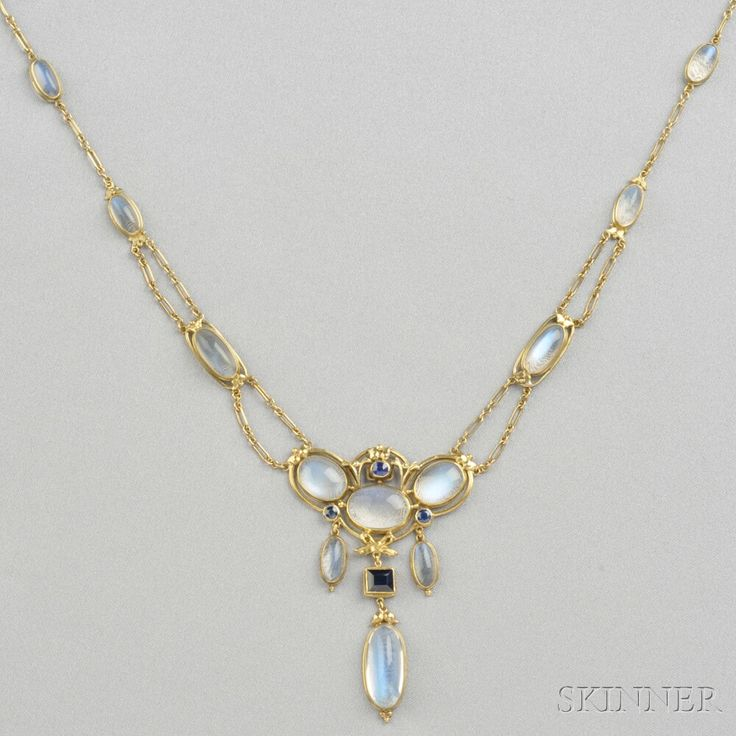 Arts & Crafts Gold, Moonstone, and Sapphire Necklace, bezel-set with moonstone cabochons and circular-, cushion, and step-cut sapphires, 18kt gold mount with bow and leaf motifs, joined by 14kt gold chain, lg. 15 1/4 in