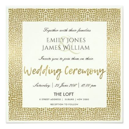 GLAMOROUS GOLD WHITE DOTS MOSAIC WEDDING CARD - wedding invitations diy cyo special idea personalize card