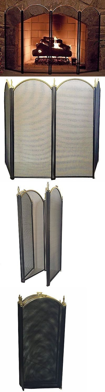 Fireplace Screens and Doors 38221: Amagabeli 4 Panel Outdoor Large Silver Fireplace Screen Wrought Iron Black Me... -> BUY IT NOW ONLY: $67.78 on eBay!