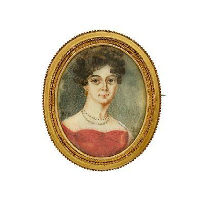 BROSJE  David-Andersen. Gull. 14 K. Trådarbeid. Ramme fra ca 1900. Portrett av kvinne malt på ben ca 1840. HØYDE 6,00 CMLENGDE 5,50 CM
