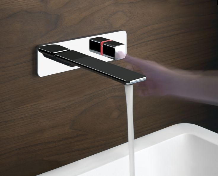 Gessi iSpa Pulse - touch activated faucet. A red light communicates warm water