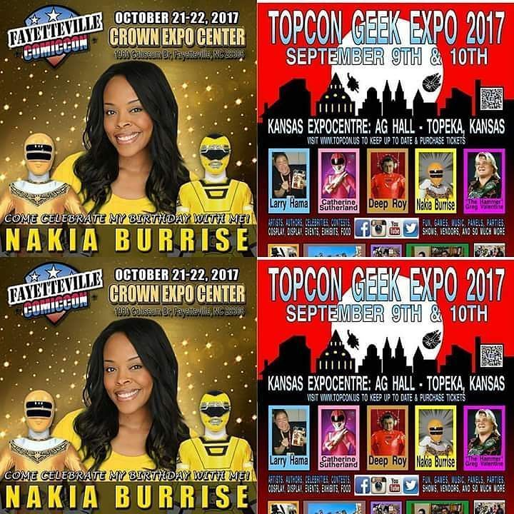 @catherine_sutherland and @nakiaburrise will be At Top Con Geek Expo in 2 days. Next week. Next month Nakia will be at Crown Expo.  #girl power #heroes #topeka #kanasas #topekakansas #expo #convention #beatmaticsupports #trentonnjpromoter #powerrangers #mightymorphinpowerrangers #mightymorphin #mightymorphing #mmpr #powerrangerszeo #powerrangersturbo #itsmorphingtime #pinkranger #yellowranger #pinkrangerkat #teamnakiab #teamkittykat  #nakiaburrise #CatherineSutherland #yellowpowerranger…