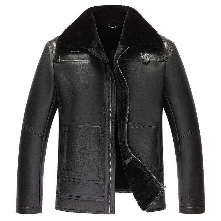 Mens Fur Coat Men's Shearling Jacket Mens Leather Jacket Pilot Leather Jacket Genuine Leather Mens Jacket
