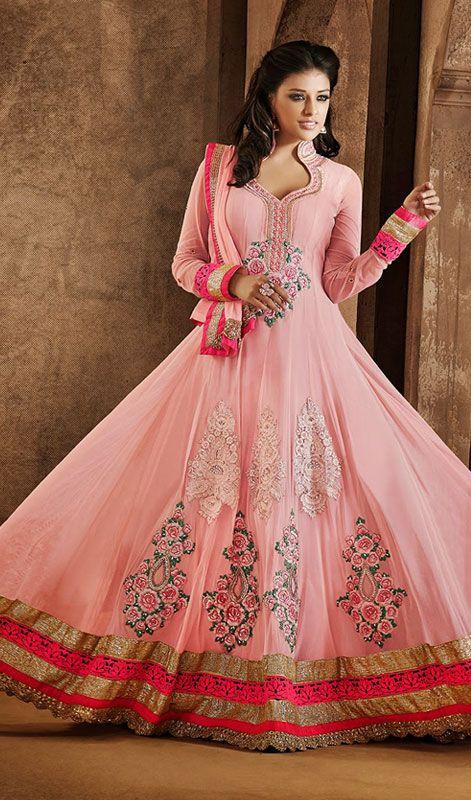 Rose Pink Net Embroidered Floor Length Anarkali Dress Price: Usa Dollar $133, British UK Pound £78, Euro98, Canada CA$144 , Indian Rs7182.