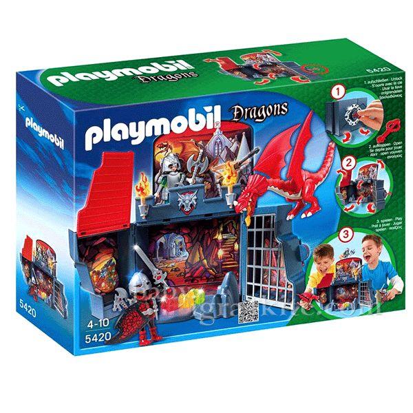 Комплектът за игра Леговище на дракон на Плеймобил е много забавен. Той представлява голяма кутия, заключена със специално ключе, която се разтваря във всички посоки и се превръща в голямо драконов ..