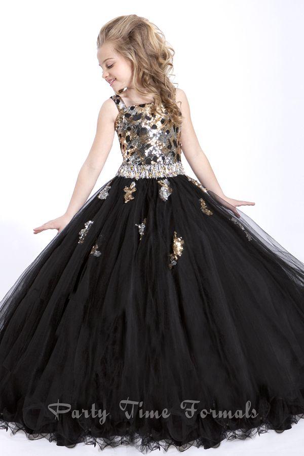 Black and Gold junior bridesmaid dress